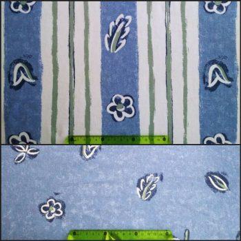 Stoff für die Außenseite mit weiss-blau-grünem Streifenmuster, Innenfutter mit blauem Blumenmuster